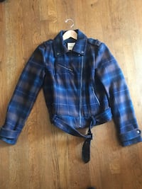 black and blue plaid leather zip-up jacket Great Falls, 22066