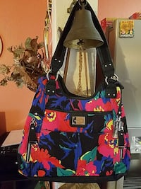 red, blue, black and green floral hobo bag 2338 mi