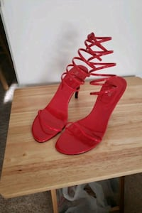 pair of red leather open toe ankle strap heels Bowie, 20721