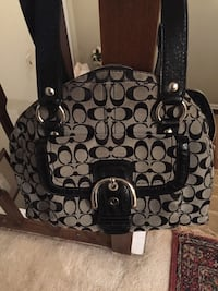 black and gray Coach monogram tote bag 85 km