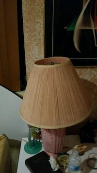 brown wooden base with beige lampshade table lamp
