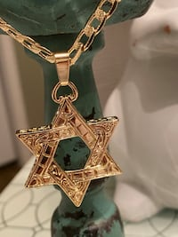 """Star Of David Pendant With Chain Necklace 22"""" 5mm"""