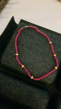 Cultured Ruby neclace with golden bits  Milton, L9T