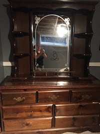 Brown wooden dresser with mirror Sherwood Park, T8H 1T8