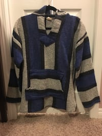 blue, gray, and black poncho hoodie