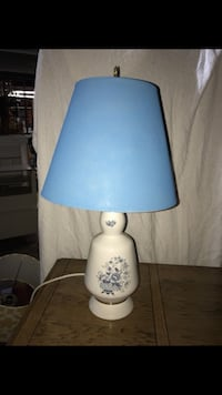 white floral ceramic table lamp with blue lampshade Warren, 48091