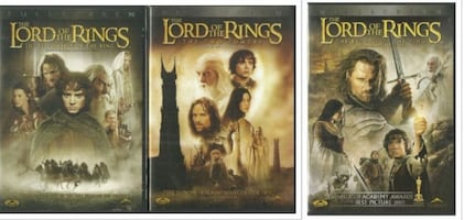 3 LORD of the RINGS Widescreen DVDs  -  Fellowship of the Ring -  The