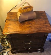 Brown wooden 2-drawer nightstand and queen size beautiful bed from  ITALY 581 mi