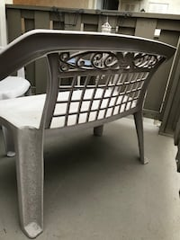 "Patio bench and chair set sold together. Bench with matching chair. Great condition just needs washed. Heavy duty resin type furniture.  Bench is 44.5""L, 33"" floor to top of the back, front to back is 23"".  Chair is 25""L, 38"" floor to top of back, front t Ontario, 91764"