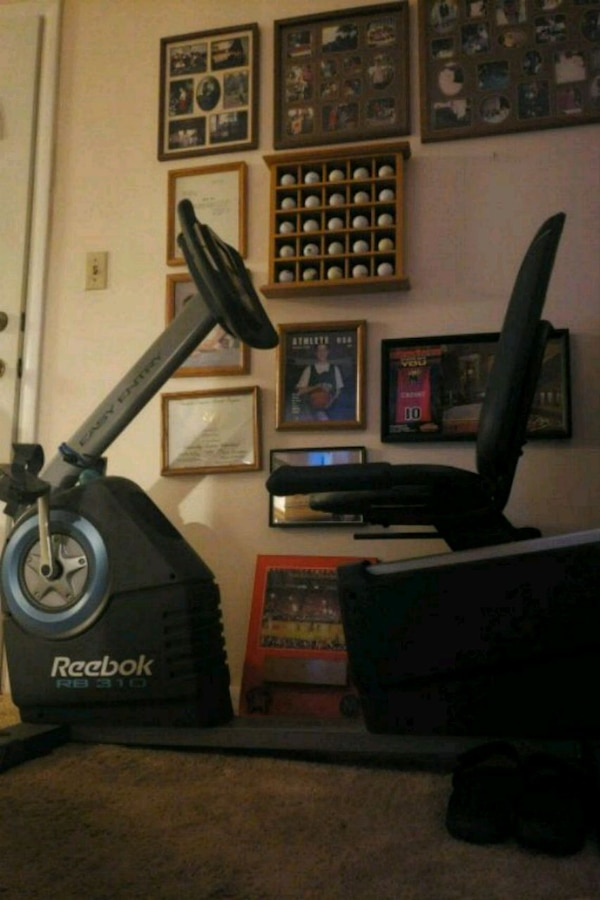 black and gray stationary bike