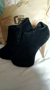 black suede side-zip stiletto booties