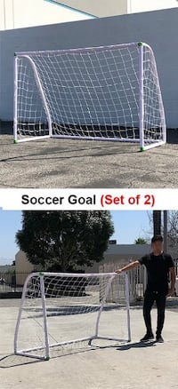 New $60 (Set of 2) Junior 6'x4' Soccer Goal Football with Net Strap Frame Anchor Ball Training Set South El Monte