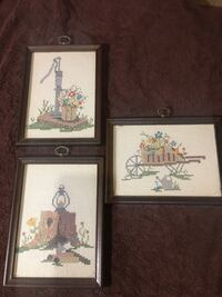 Three brown wooden framed  crossl stitch pieces Memphis, 38134