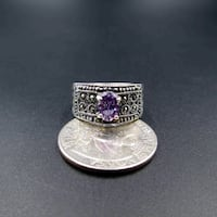 Vintage Estate Size 7 925 Sterling Silver Amethyst & Marcasite Band Ring Wedding Engagement Anniversary Everyday Minimalist Statement Cute Lynnwood, 98087