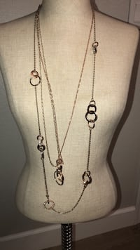 triple strand rose gold and  yellow gold white house black market necklace with rhinestone circles  Phoenix, 85254