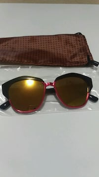 pink framed gold lens sunglasses with brown dust bag Milton, L9T 6X5