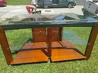 brown wooden TV stand with glass top New Castle, 19720