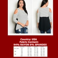 Women's white and black Cold Shoulder striped top Dundalk, 21222