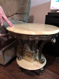 Marble and brass side tables (2) Toronto, M9R 4C2