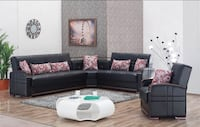 NEW BONDED LEATHER SECTIONAL SOFA BED WITH STORAGE Clifton, 07013