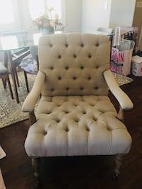 Tuffed Linen Arm Chair with Casters and Studded Phoenix, 85027