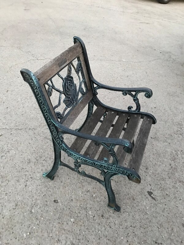 Vintage Berkeley Forge Foundry Garden Chair Cast Iron And Oak Wood