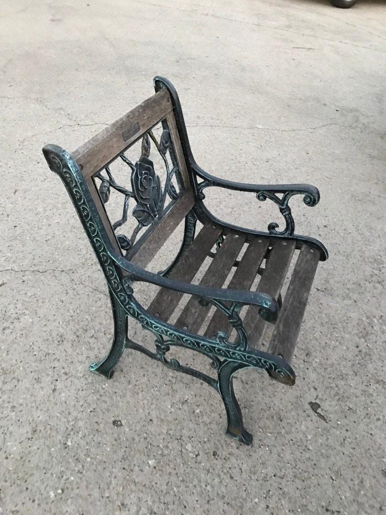 Superbe Vintage Berkeley Forge U0026 Foundry Garden Chair Cast Iron And Oak Wood