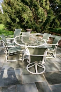 white metal framed glass top patio table set Owings Mills, 21117