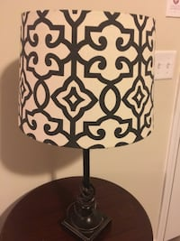 white and black drum pendant table lamp