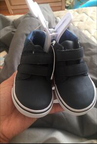 pair of toddler's blue velcro-strap sneakers