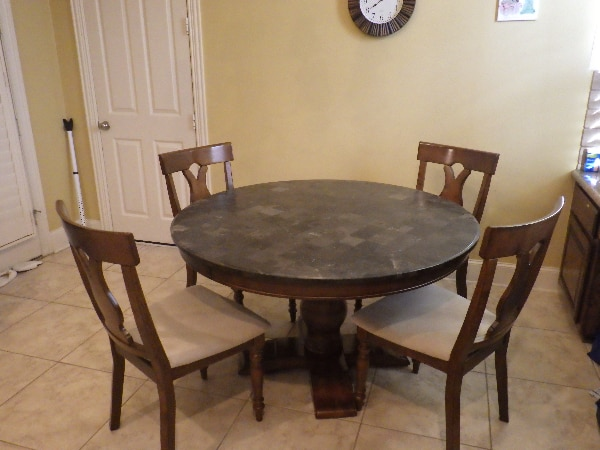 6 People Round Granite Dining Table With 4 Chairs