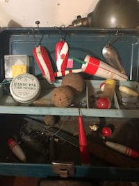 Vintage tackle box and tackle spoons bobbers knife etc Woodbury, 55125