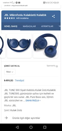 Jbl tune 500bt Bluetooth kulaklık  'Eyüpsultan', 34070