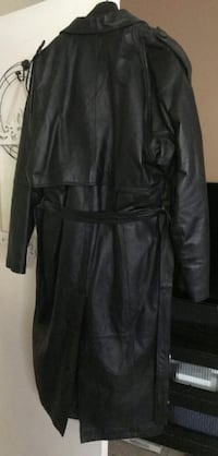 Catalani Mens Black Leather Trench coat with belt  Hacienda Heights