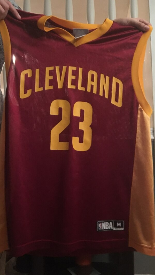 separation shoes 20d9e de7fb Used red and yellow Cleveland Cavaliers Lebron James jersey ...