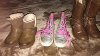 three pairs of assorted-color-and-type footwear 17 mi