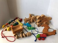Lot of Vintage Wooden Pull String Toys & EXTRAS - Bunny, Grashopper Mc Lean, 22101