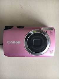 Pink canon digital camera