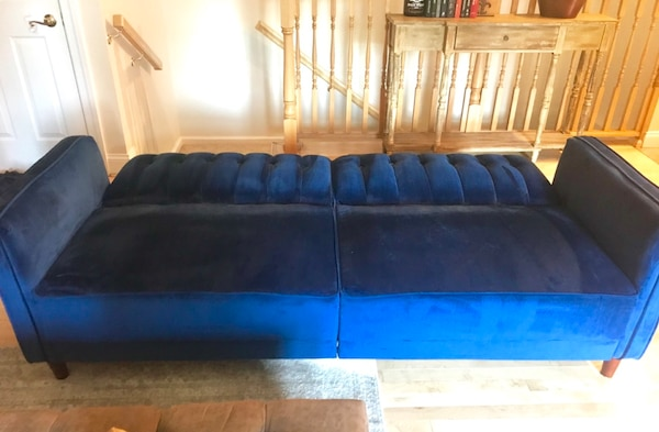 Swell Wayfair Nia Pin Sleeper Sofa In Dark Royal Blue Velvet Machost Co Dining Chair Design Ideas Machostcouk