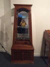 brown wooden framed glass display cabinet Elk Grove Village, 60007