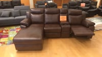 black leather home theater couch Dallas, 75254