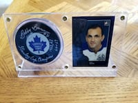 Bobby Baun card and signed pick display Edmonton, T5A 4A5