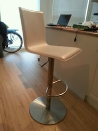 4 white leather and metal bar stools White Rock
