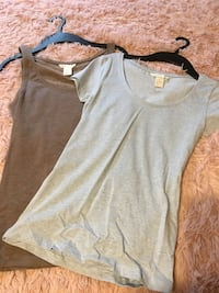 two gray scoop-neck cap-sleeved shirt and tank top