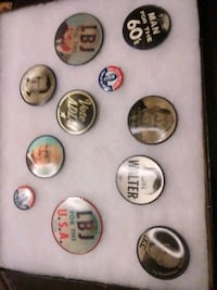 assorted 1960s political buttons.  Mooresville, 46158