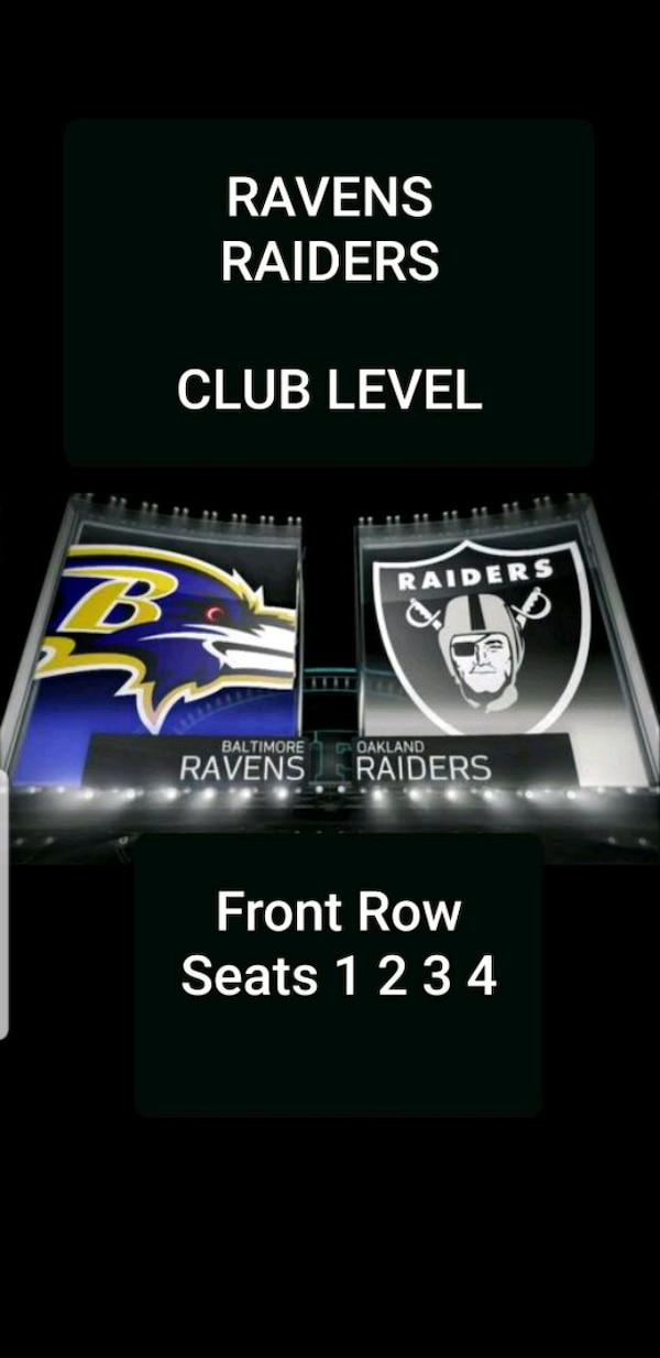 Front Row Club Level Ravens Raiders