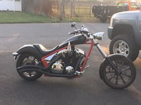 Red and black chopper motorcycle!