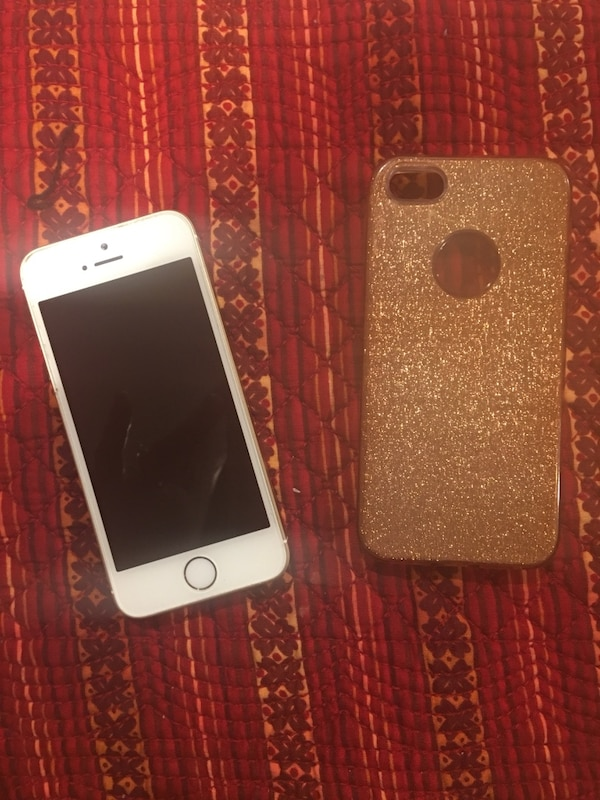 IPhone SE Gold w/Sparkle Case - Mint Condition & Like New!