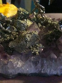 Fools gold. With a crystaly purple rock