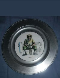 "Wilton Armetale Pewter/Ceramic Plate "" Unseeded Cl Jacksonville, 32244"